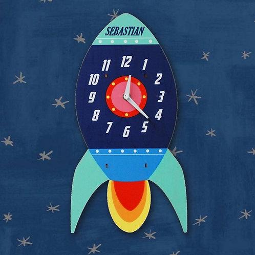 Personalised Blue Rocket Spaceship Clock