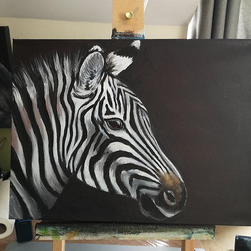 Zante Zebra, Original acrylic on deep edge canvas