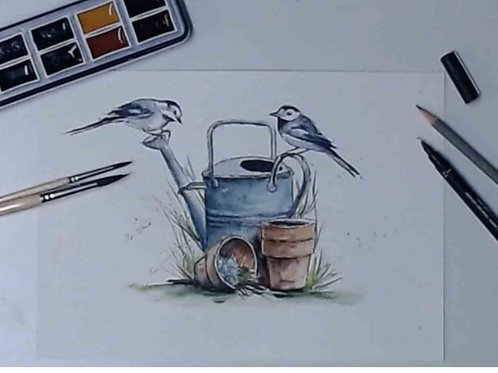 Wagtails Watercolour Tutorial