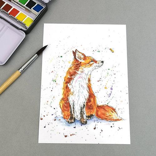 Amber the vixen, watercolour Print