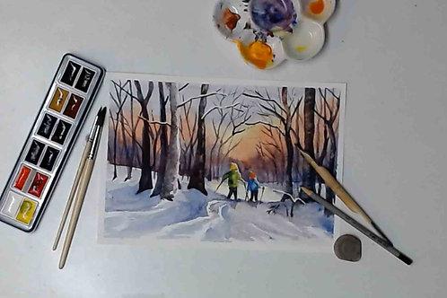 Kids on Skis Watercolour Tutorial
