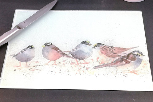 The Crew, Sparrows  Glass Placemat Kitchen Table Worktop Saver Protector