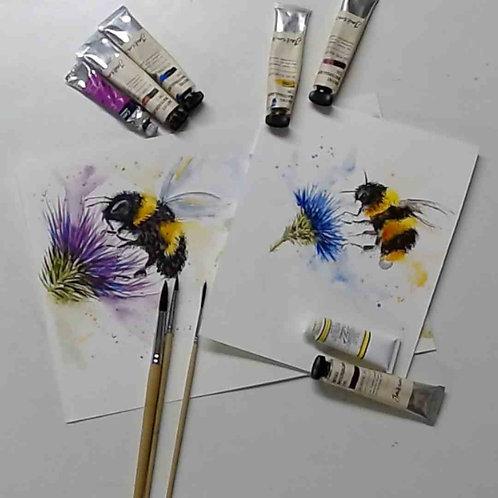 Bee botanical Watercolour Tutorial