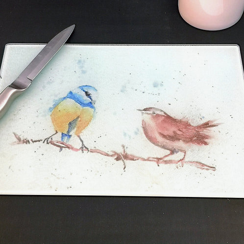Blue Tit & Wren, Glass Placemat Kitchen Table Worktop Saver Protector