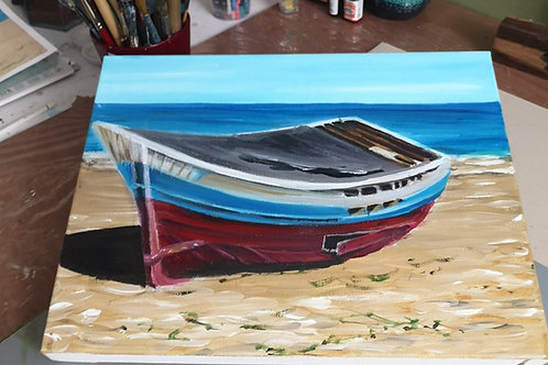 Boat and Beach Acrylic Painting Tutorial