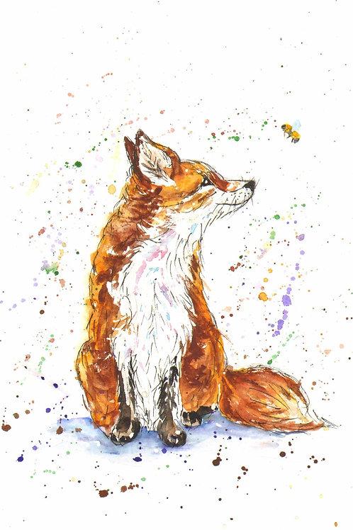 Amber the vixen, A4 watercolour