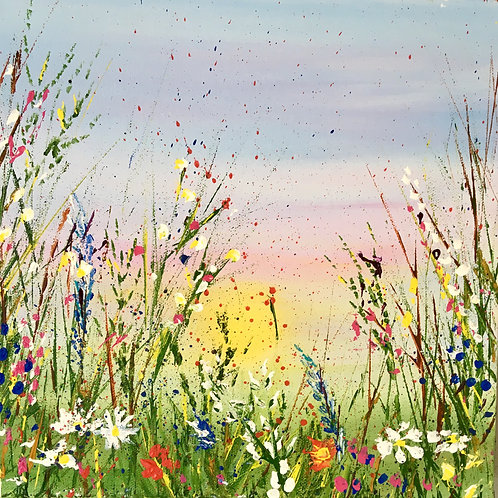Spring Meadow, 12x12in Aculic on deep canvas