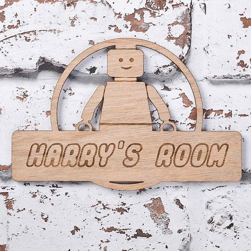 Personalised Building Block Man Door Sign