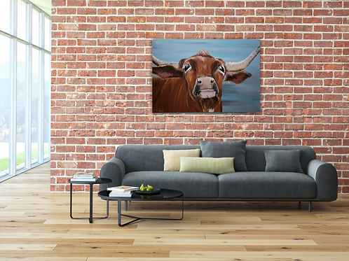 Betty Sue, Long horn Cow, Acrylic on Deep Box Canvas