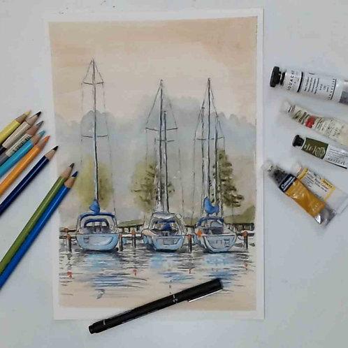 Sail Boat  Mixed Media  Tutorial