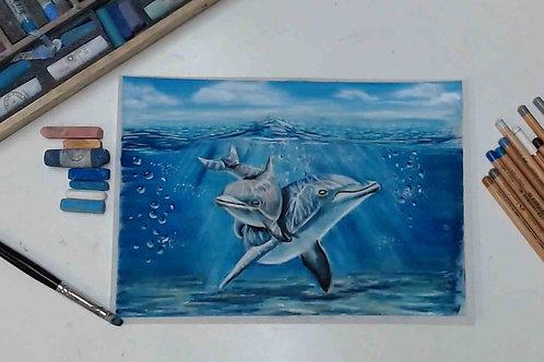 Under the Sea Dolphin Pastel Tutorial