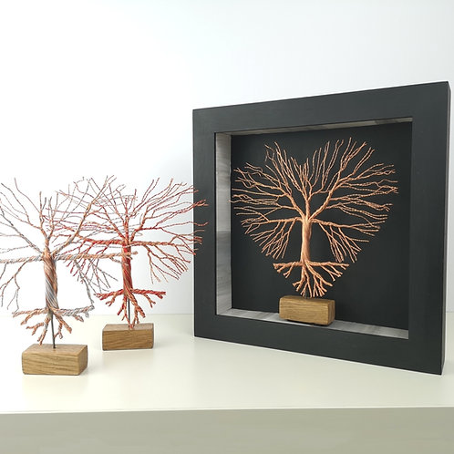 Hand Made Wire Heart Tree In A Frame