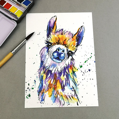 Lucy the llama, Watercolour Print