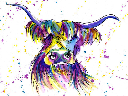 Highland Moo Watercolour  Tutorial
