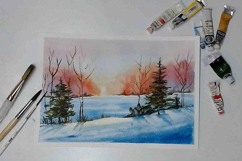 Snowy Landscape Watercolour Tutorial