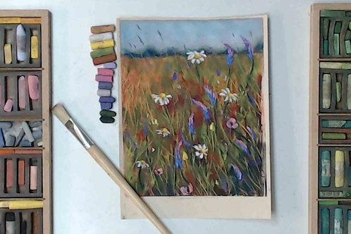 Flower Meadow - alcohol underpainting  Pastel Tutorial