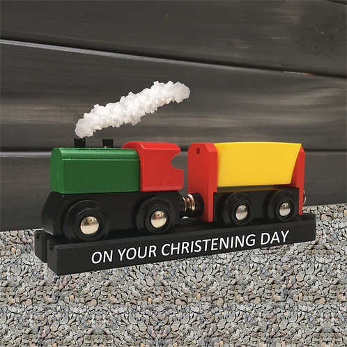Personalised Wooden Train for Christening, Birthday, Page Boy or Naming Day
