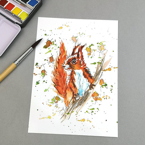 Twiggy the Squirrel, watercolour Print