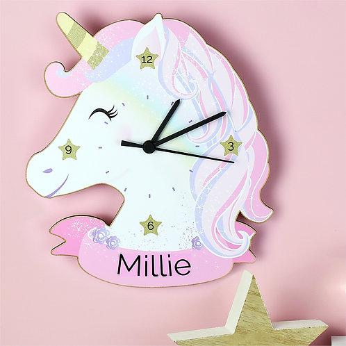 Personalised Unicorn Children's Clock