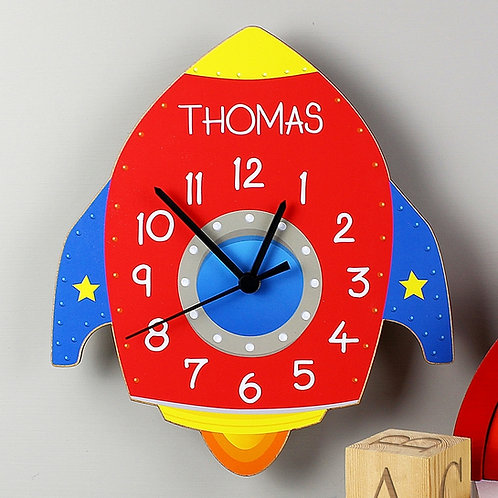 Personalised Red Space Rocket Clock