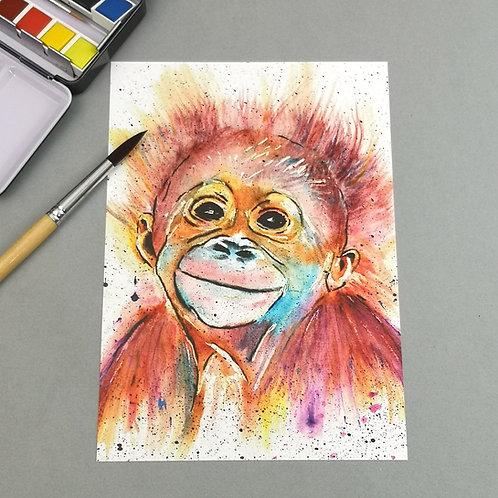 Monkey Business, Watercolour Print