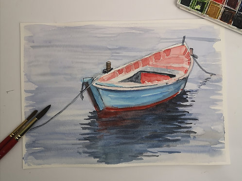 The Row Boat . watercolour A4