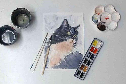 Tuxedo Cat Watercolour Tutorial