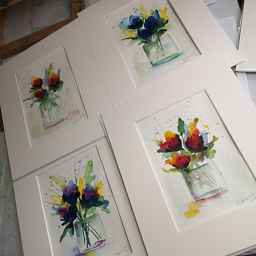 Set of 4 signed, original floral watercolours