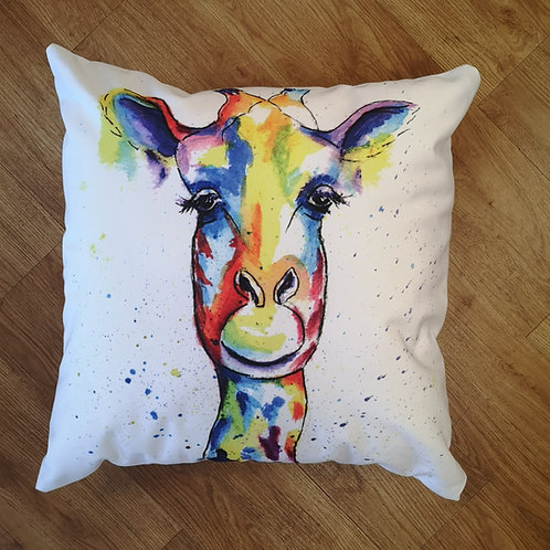 Flower the Giraffe, Cotton Canvas Cushion