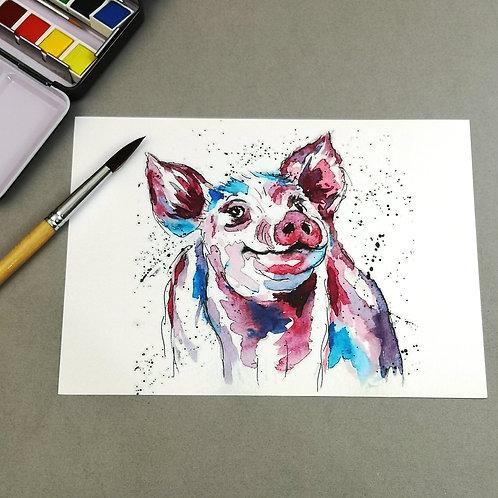 Percival Pig, Watercolour Print