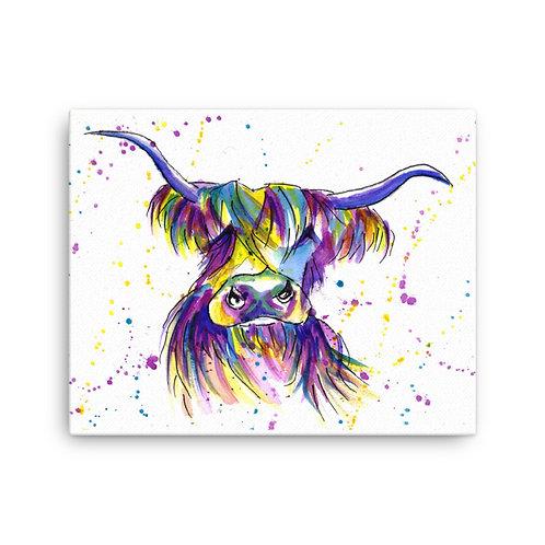 Rainbow Moo, Highland Cow,  Canvas Print