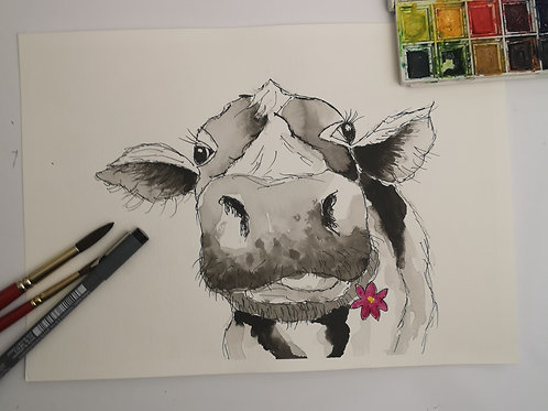 Inky Moo . Indian ink A4