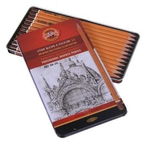 Koh-I-Noor 12 Professional Graphite Drawing Pencil Set 8B-2H