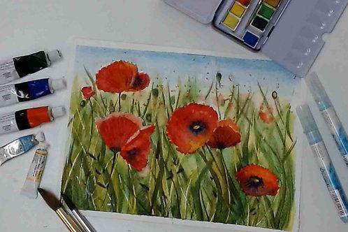 Poppy Field Watercolour Tutorial