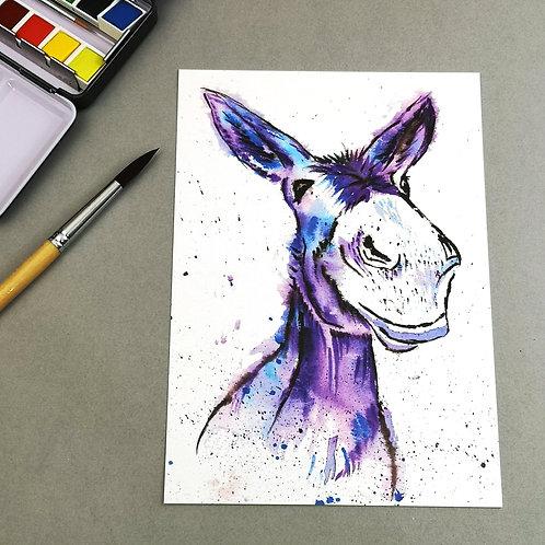 Pedro Donkey, Watercolour Print