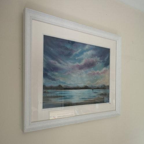 Still of the lake, Framed A3 Pastel