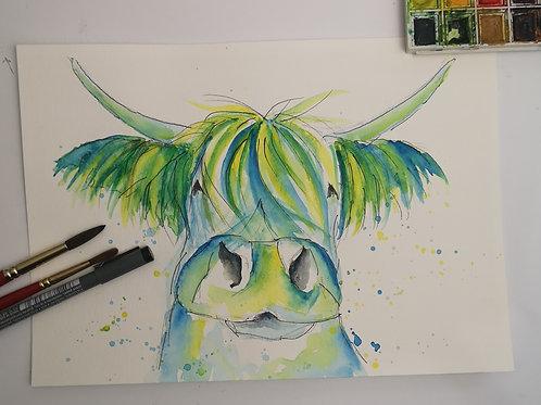Zesty Moo . watercolour A4