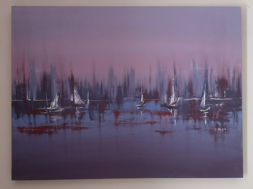 Sail Boats, oil on deep edged canvas