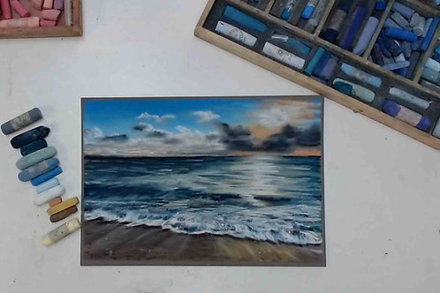 Sunset Tide, Original Pastel Painting