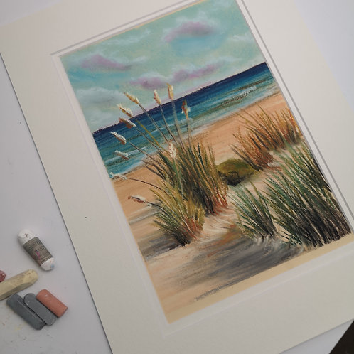 The Dunes Pastel double mounted  painting