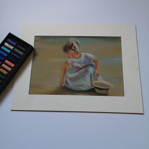 Shell Collector, Original Pastel Painting