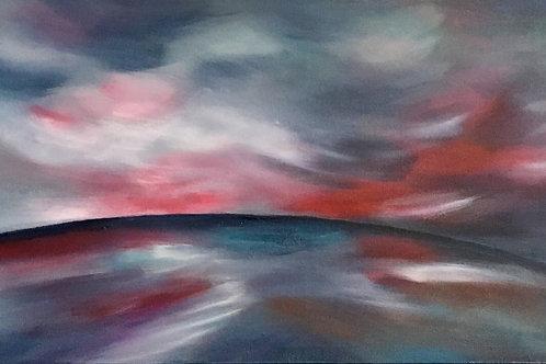Crimson Skies, Acrylic on Deep Canvas