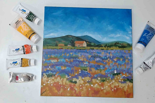 Monet Style Lavender Fields  Painting Tutorial