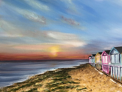 Beach Huts at Sunset,16x12in Aculic on deep canvas