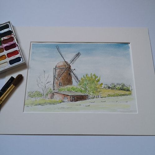 The Windmill, original Ink &  Watercolour