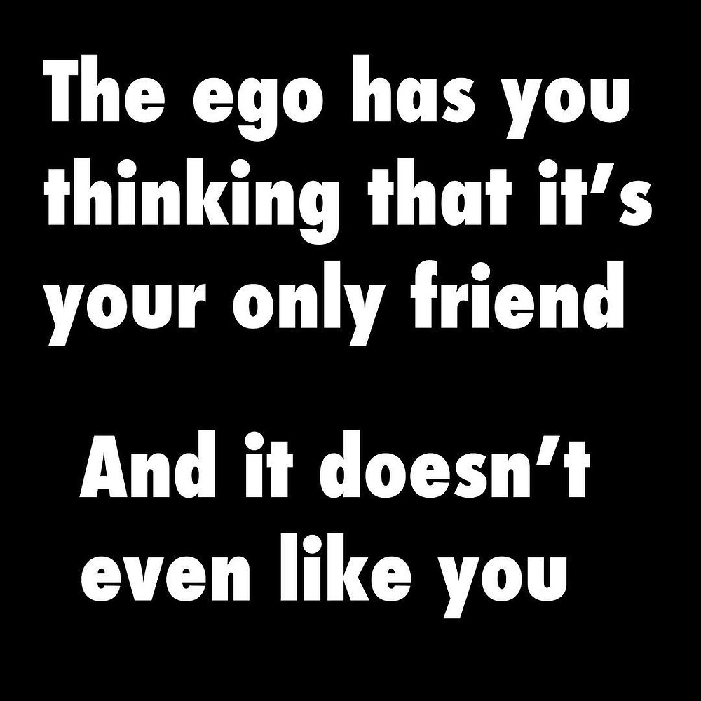 Ego likes to tell you other people are against you. Only the ego understands. Only Ego knows how particularly shitty and damaged you are.Fuck everyone else you don't need them. It's just you and ego together forever. To bad Ego hates you and wants u to be eternally miserable or you'd be practically soulmates.