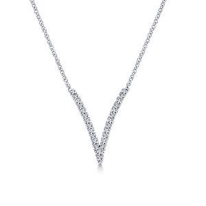 "Gabriel & Co.- ""V"" Diamond Necklace"