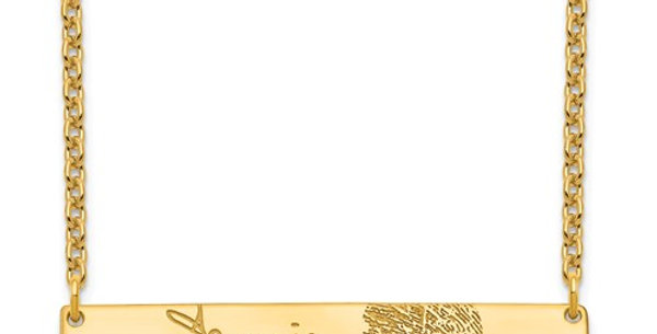 Signature And Fingerprint Bar Necklace