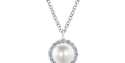 Gabriel & Co.- Pearl and Diamond Halo Necklace