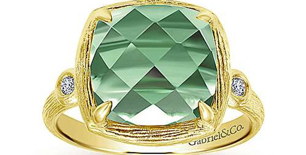 Gabriel & Co. - Green Amethyst & Diamond Ring